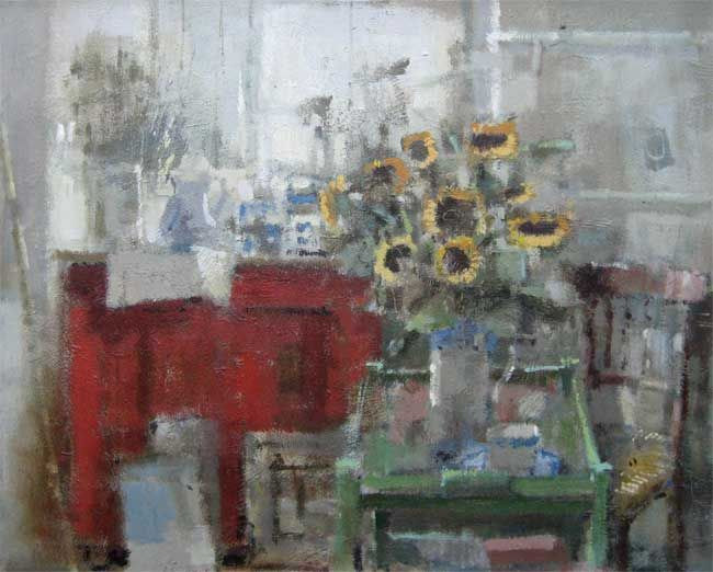 Andrew Douglas-Forbes, Studio With Sunflowers