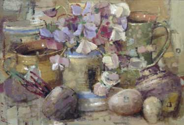 Andrew Douglas-Forbes, Sweet Peas With Ewenny Pottery