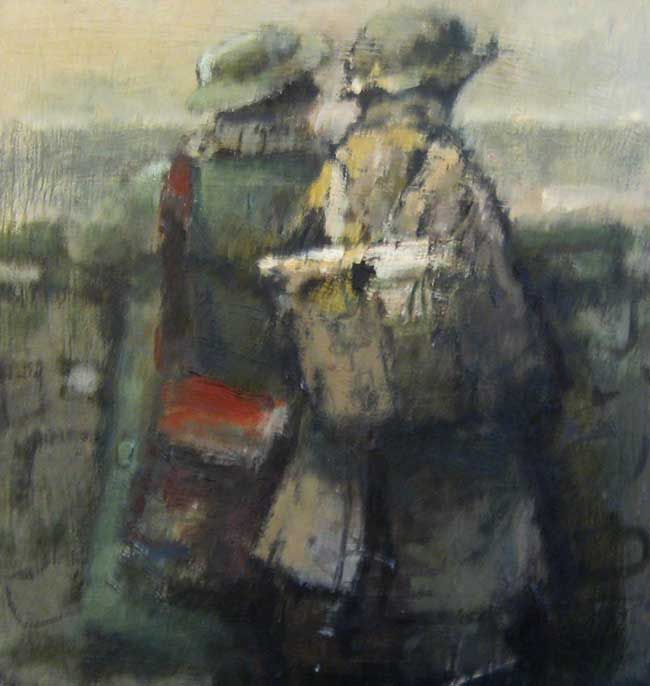 Andrew Douglas-Forbes, Two Fisherman, Tenby Harbour Wall