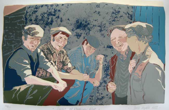 Sarah Hopkins, Farmers At Llandovery Mart (unframed)