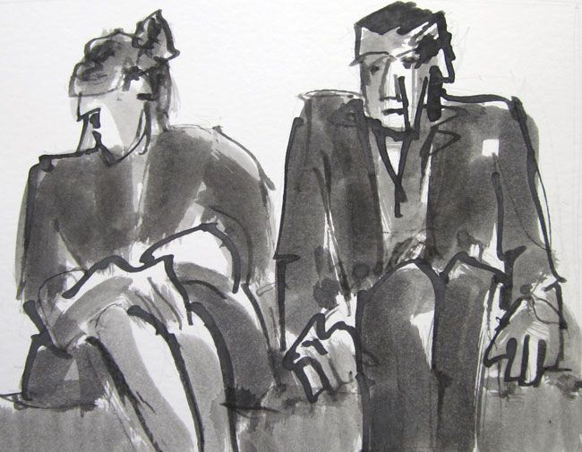 Mike Jones, Couple Seated (Looking Down)