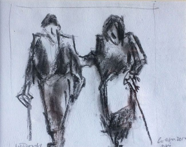 Mike Jones, Couple With Sticks (mounted, unframed)