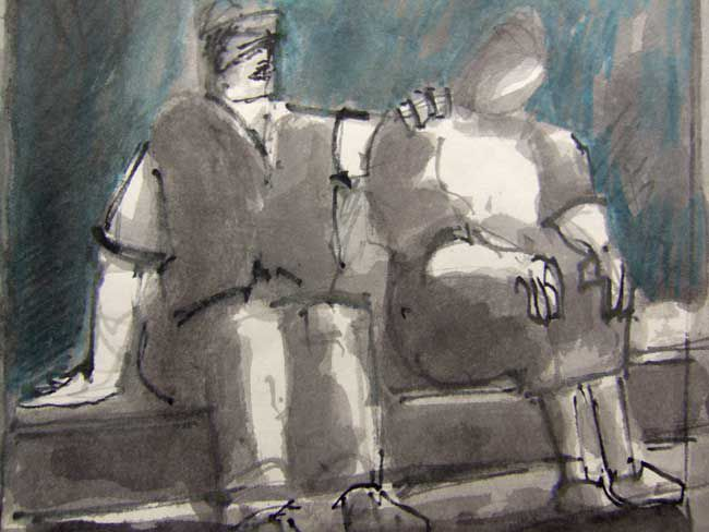 Mike Jones, Seated Couple, Harbour Wall