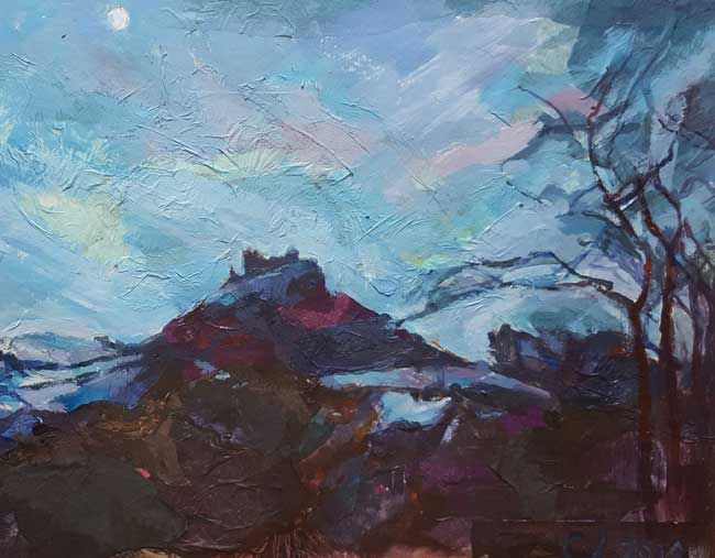 Tywi Valley Open Studios Artist, Winter Moon 2 by Charlotte Leadbeater